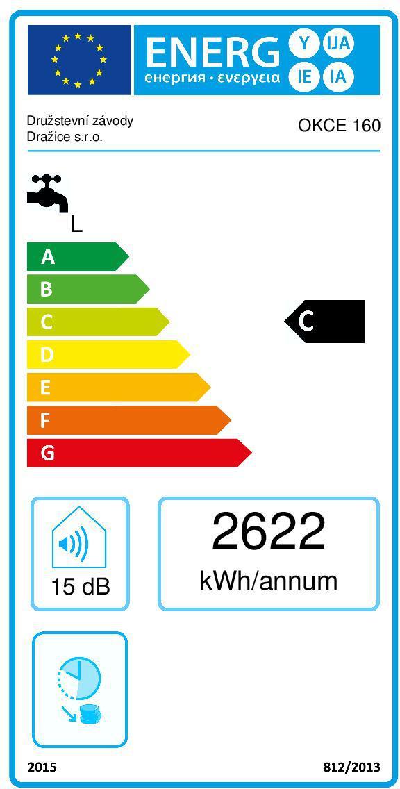 Energetický štítek Dražice OKCE 160 svislý