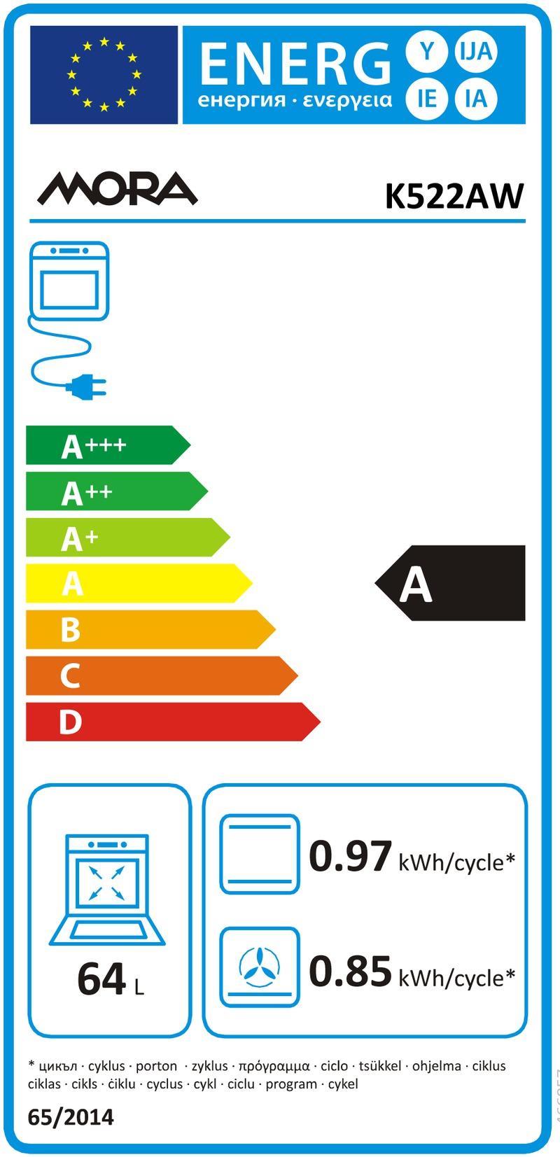 Energetický štítek Mora K 522AW