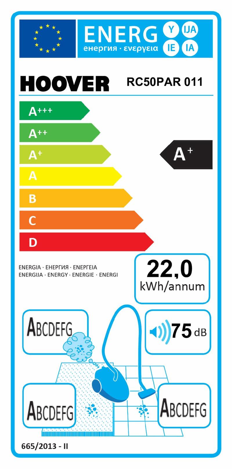 Energetický štítek Hoover RC50PAR 011 REACTIVE