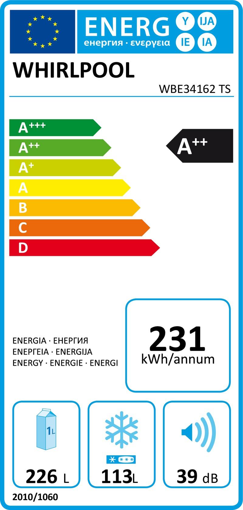 Energetický štítek Whirlpool WBE34162 W