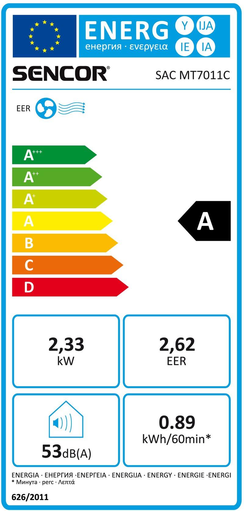Energetický štítek Sencor SAC MT7011C
