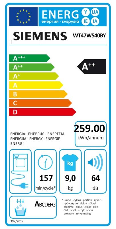 Energetický štítek Siemens WT47W540 BY kondenzační