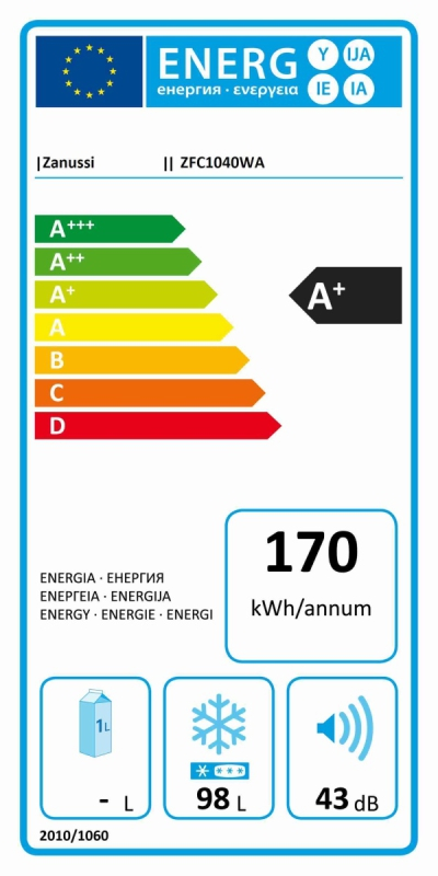 Energetický štítek Zanussi ZFC1040WA, truhlicová