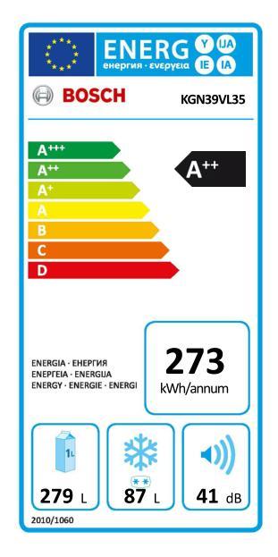Energetický štítek Bosch KGN39VL35, NoFrost