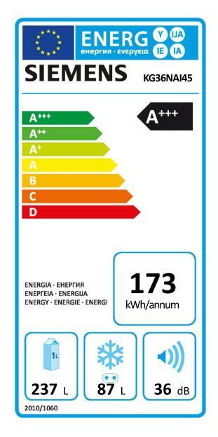 Energetický štítek Siemens KG36NAI45, NoFrost
