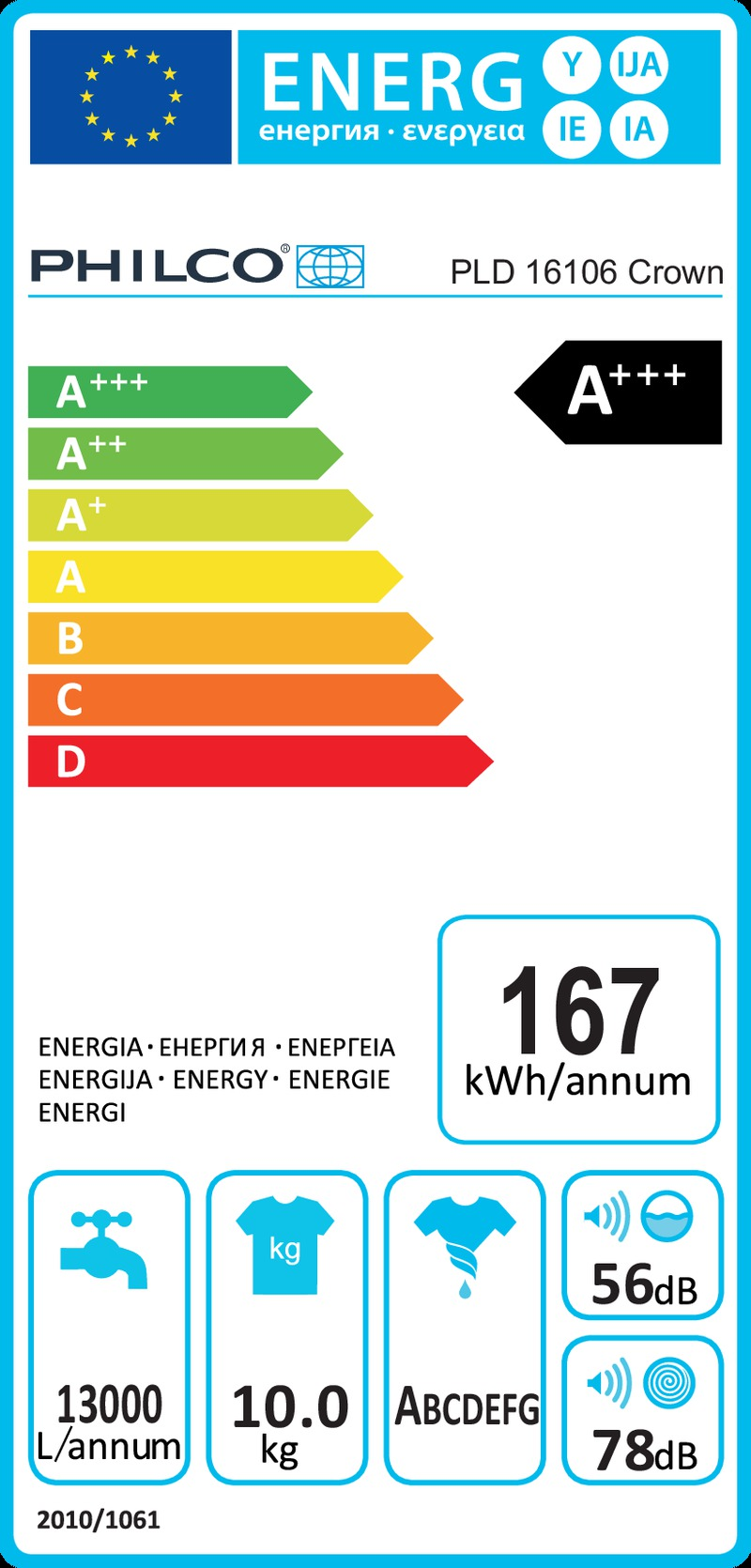 Energetický štítek Philco PLD 16106 Crown