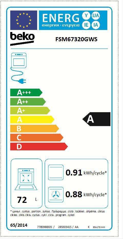 Energetický štítek Beko FSM 67320 GXS
