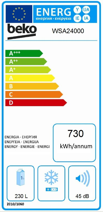 Energetický štítek BEKO WSA 24000
