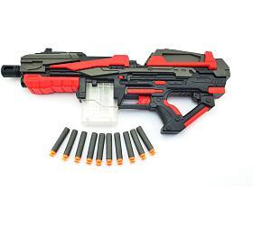 Pistole puška na pěnové náboje 10ks plast 54cm na baterie v krabici - Teddies