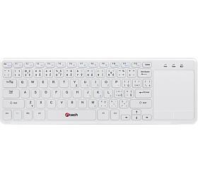 Klávesnice C-TECH WLTK-01, bezdrátová klávesnice s touchpadem, bílá, USB - C-Tech