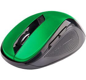 Myš C-TECH WLM-02, černo-zelená, bezdrátová, 1600DPI, 6 tlačítek, USB nano receiver - C-Tech