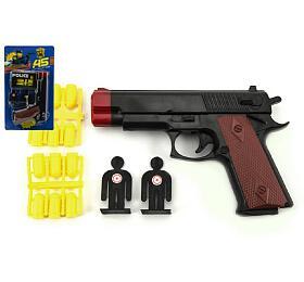 Pistole špuntovka s náboji + terče plast 15cm na kartě - Teddies
