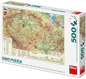Puzzle Mapa České Republiky 47x33cm 500dílků v krabici 33x23x3,5cm - Dino hračky