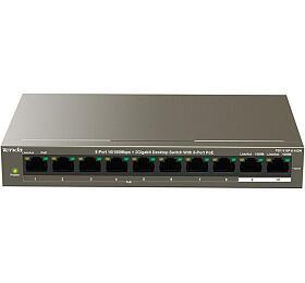 Tenda TEF1110P-8-102W PoE AT switch - 8x PoE 100 Mb/s + 2x Uplink 1 Gb/s, PoE max 102W, fanless - Tenda