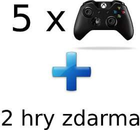 AKCE: 5 x XBOX ONE - Bezdrátový ovladač Xbox One, černý + 2 hry ZDARMA (5contr--2game) - Microsoft