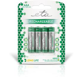Baterie nabíjecí ETA AAA, HR03, 950mAh, Ni-MH, blistr 4ks - ETA