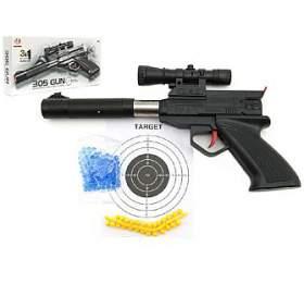 Pistole plast 30cm na měkké a vodní kuličky o průměru 6mm v krabici - Teddies