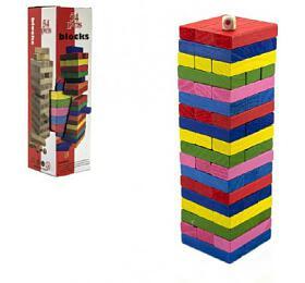 Hra Jenga věž dřevo 54ks barevných dílků hlavolam v krabičce 8x29cm - Teddies