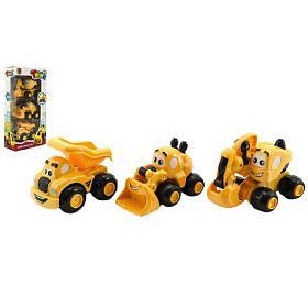 Stavební stroje plast 10cm 3ks na volný chod v krabici 14x28x6cm 12m+ - Teddies
