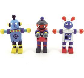 Robot dřevo 12cm asst 6 druhů 12ks v boxu od 18 měsíců - Teddies