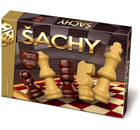 Šachy dřevěné figurky společenská hra v krabici 33x23x3cm - Bonaparte