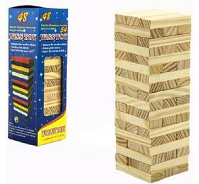 Hra Jenga věž přírodní dřevo 48ks hlavolam v krabičce 7x23x7cm - Teddies