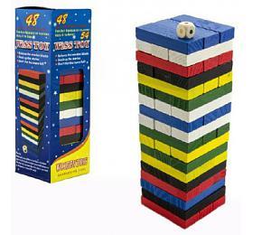 Hra Jenga věž dřevo 48ks barevných dílků hlavolam v krabičce 7x23x7cm - Teddies