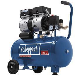 Scheppach HC 24 Si, tichý bezolejový dvouválcový kompresor 8 bar se vzdušníkem 24 l - Scheppach