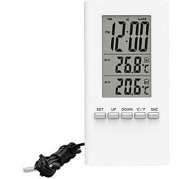 Solight teploměr, teplota, velký displej, datum, čas, bílý - Solight