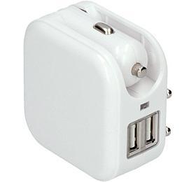 Solight USB nabíjecí adaptér auto+zásuvka, 2x USB, max. 2400mA, AC 230V / DC 12V, bílý - Solight