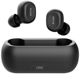 QCY - T1C, zcela bezdrátová špuntová sluchátka s dobíjecím boxem, černá, blistr - QCY