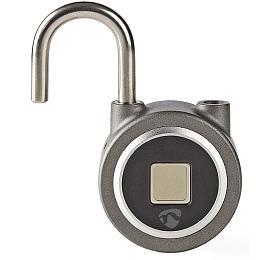 NEDIS chytrý zámek/ Bluetooth 4.0/ micro USB/ odemknutí pomocí otisku prstů/ dobíjecí/ kov/ šedý (LOCKBTF10GY) - NEDIS