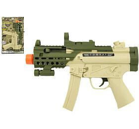 Pistole samopal plast 29cm na baterie se zvukem se světlem na kartě - Teddies