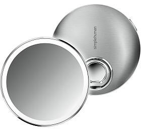 Kapesní kosmetické zrcátko Simplehuman Sensor Compact, LED osvětlení, dobíjecí, 3x, nerez - Simplehuman