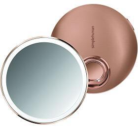 Kapesní kosmetické zrcátko Simplehuman Sensor Compact, LED osvětlení, AKU, 3x, rose gold - Simplehuman