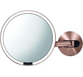 Kosmetické zrcátko na zeď, Simplehuman Sensor, LED osvětlení, 5x, dobíjecí, rose gold - Simplehuman