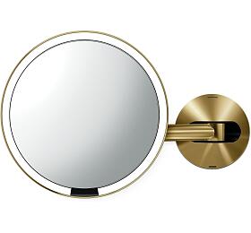 Kosmetické zrcátko na zeď, Simplehuman Sensor, LED osvětlení, 5x, dobíjecí, Brass steel - Simplehuman