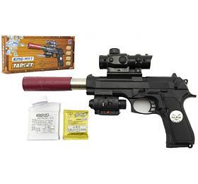 Pistole kov/plast na vodní kuličky + náboje 5-7mm v krabici 33x15x4cm - Teddies