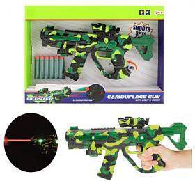 Pistole na pěnové náboje se zaměřovačem plast 32cm na bat. se světlem a se zvukem v krabici 38x27x5 - Teddies