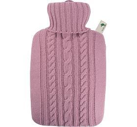Termofor Hugo Frosch Classic s pleteným obalem - pastelově růžový - HUGO-FROSCH