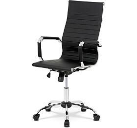 Kancelářská židle, černá ekokůže, houpací mech, kříž chrom Autronic KA-V305 BK, Šedá - Autronic