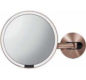 Kosmetické zrcátko na zeď, Simplehuman Sensor, LED osvětlení, 5x, síťové, rose gold ocel - Simplehuman