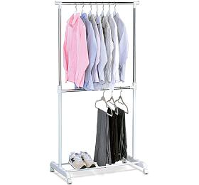 Stojan na šaty, bílý plast/chrom Autronic ABD-1213 WT, Bílá, Kov - Autronic