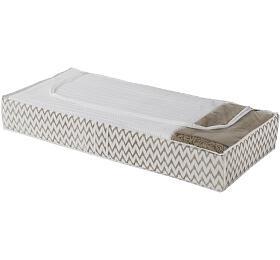 Nízký textilní úložný box na oblečení a přikrývky Compactor Ikat 107 x 46 x 16 cm, béžový - Compactor