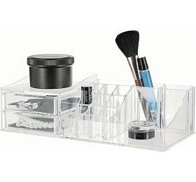 Organizer na kosmetiku Compactor Multi - 16 přihrádek, 2 zásuvky, čirý plast - Compactor