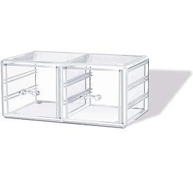 Velký stohovatelný organizér na šperky a kosmetiku Compactor - 2 zásuvky, čirý plast - Compactor