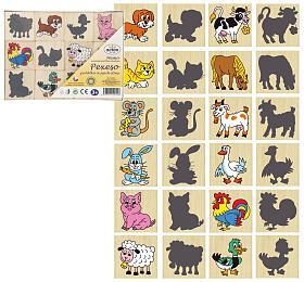 Pexeso zvířátka a jejich stíny dřevo společenská hra 12ks v krabičce 16,5x12,5x1,5cm - Detoa