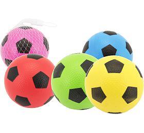 Míček fotbal guma 12cm 6 barev v síťce - Teddies