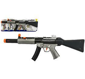 Pistole samopal policie plast 59cm na baterie se zvukem se světlem na kartě - Teddies
