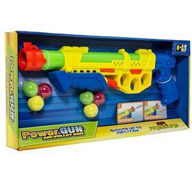 Pistole vodní stříkací pumpa+měkké míčky 6ks plast 45cm 2 barvy v krabici 50x23x5cm - Teddies